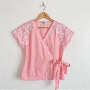 Madewell Bubble Gum Pink Embroidered Wrap Blouse
